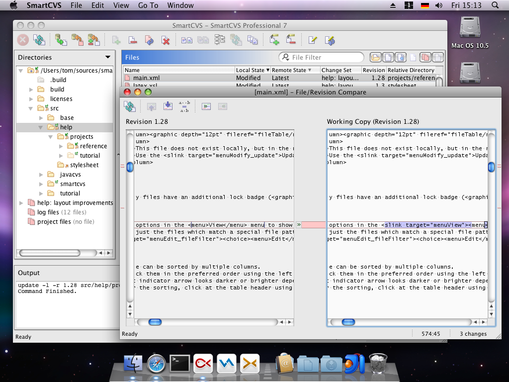 SmartCVS compare window on Mac OS X