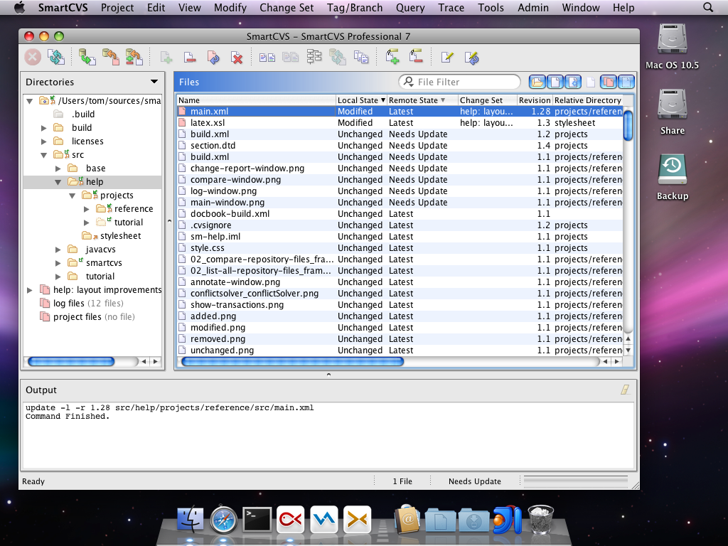 SmartCVS project window on Mac OS X