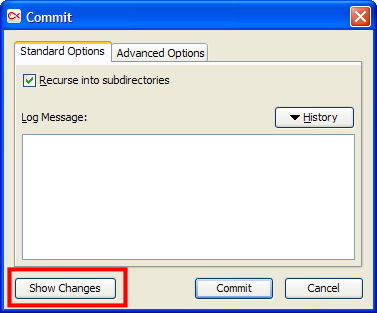 commit dialog: ability to show changes
