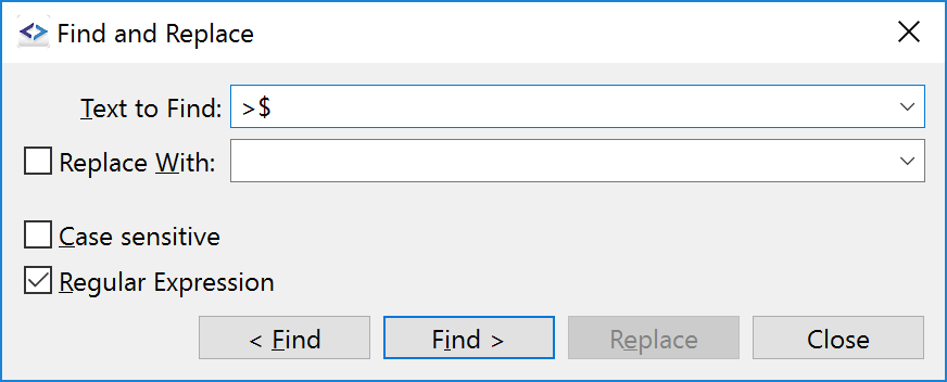 Reworked Find & Replace dialog