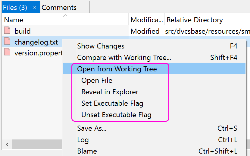 In the Log it is possible to start external tools on working tree files.