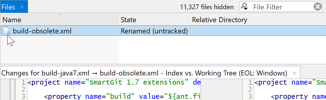 File renamed in the working tree can be detected.