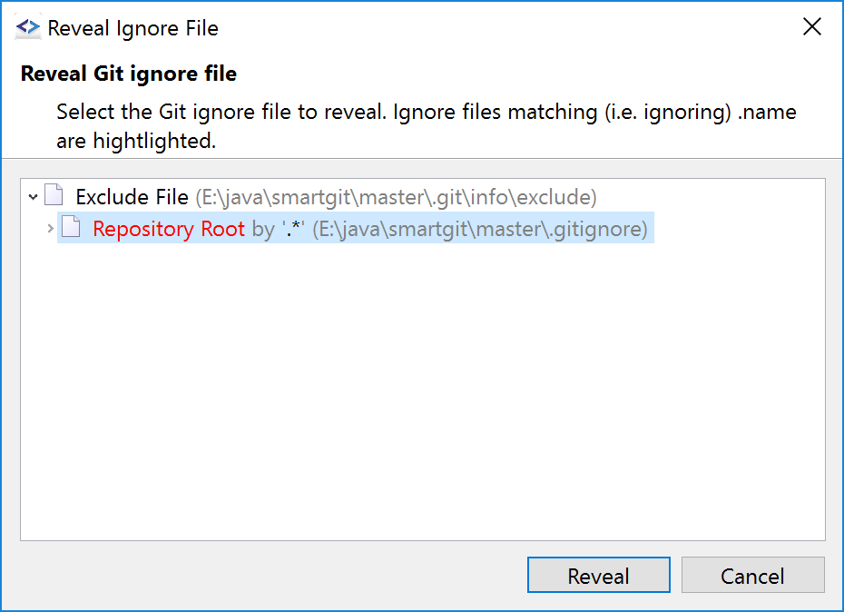 Easyly reveal matching gitignore files.