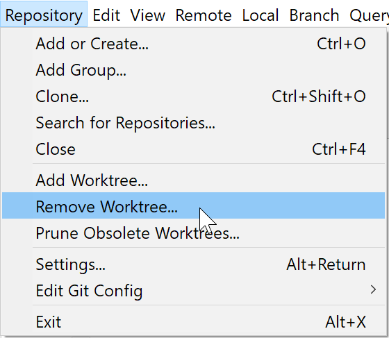 New remove worktree command.