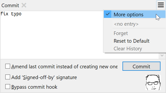 The Commit view offers now a full replacement for the Commit dialog supporting all options.