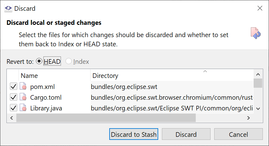 Discard allows to stash files instead of simply deleting them.