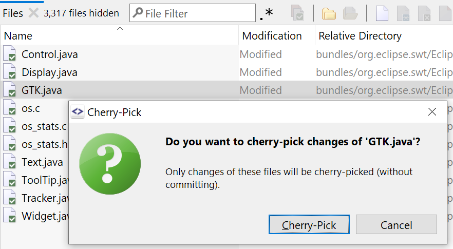 Cherry-pick not just full commits, but also just some files.