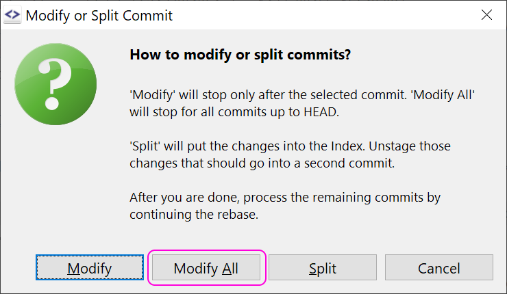 Rebase Interactive: optionally stop at each commit.