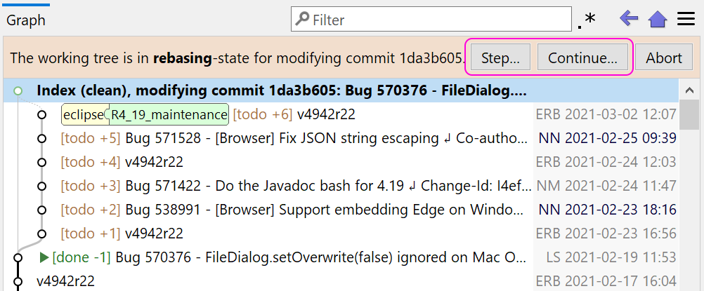 You can single-step each commit or continue - just like in a commit debugger.