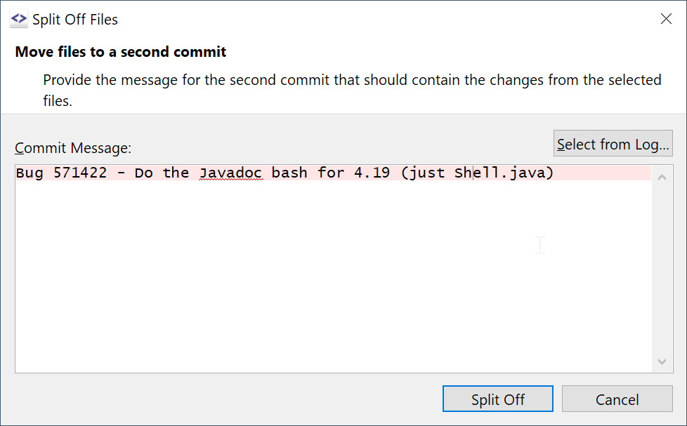 Move selected files of a commit into a sibling commit using Split-Off Files.