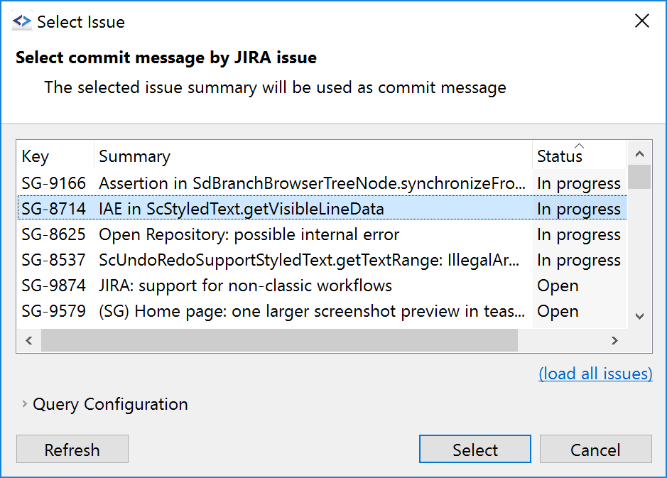 Select JIRA issues to use their subject as commit message, and mark issues as resolved on push.