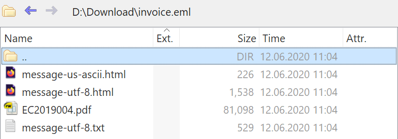 Saved emails (eml files) can be treated as archives.